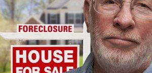 man next foreclosure sign